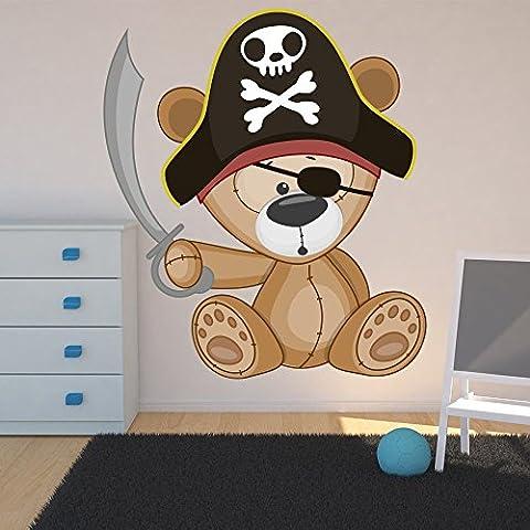Carino Pirate Teddy Bear Fun Nursery Colore Wall Sticker bambini decalcomanie Art Decor disponibile in 8 taglie Medio Digitale