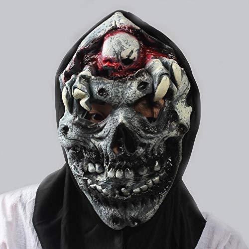 Littlefairy Maske,Halloween Maske beängstigend Perücke Bar Dekoration Requisiten Super Horror Dämon Rotten Kopf Schlag Gehirn Maske