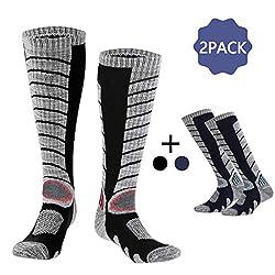 Hospaop Skisocken, Unisex Skisocken, Thermosocken für Herren und Damen für Wintersport, Snowboard atmungsaktive Socken Knie-Thermosocken Outdoorsocken(2 Paar)