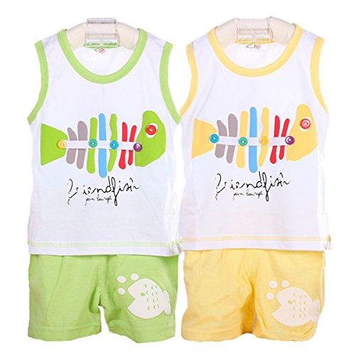 Packung mit 2 Sets Hikfly Baby Jungen Mädchen Bio Baumwolle Ärmellos Tops Weste T-Shirt und Shorts Set (F) (6-12 monate, Mädchen)