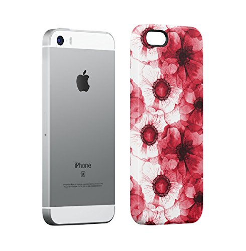 Flowers Pink Roses, Spring Flowers & Birds Pattern Apple iPhone 5 , iPhone 5S , iPhone SE Snap-On Hard Plastic Protective Shell Case Cover Custodia Crimson Red Flower