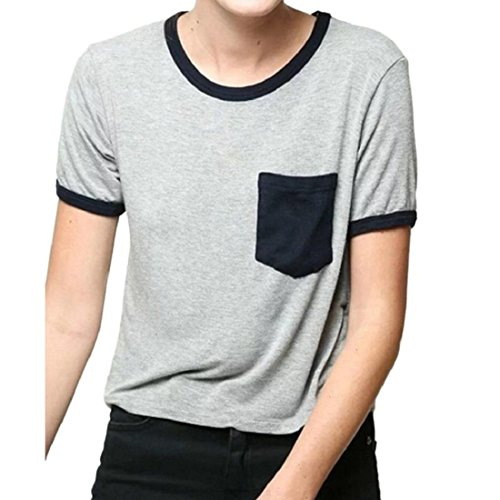 Tongshi Las mujeres del color del golpe de costura de manga corta cuello redondo de la camiseta del bolsillo de la camiseta del verano Tops simple del Todo-fósforo ( EU 38(Asia L),