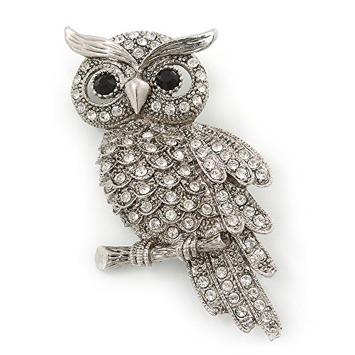 Clear Swarovski Crystal 'Owl' Brooch In Rhodium Plating - 60mm Length