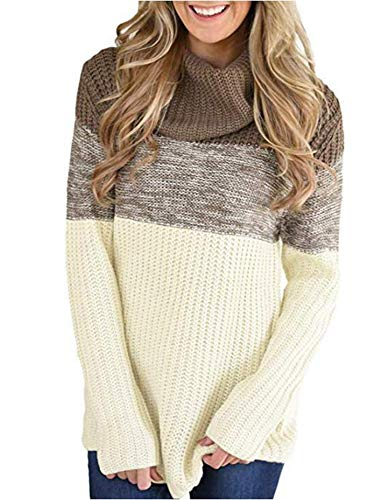 Keephen Womens Lose Cowl Neck Langarm Solid Knit Pullover Pullover Split Saum Weiß Größe M -