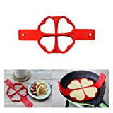 Pancake Moulds, Transer® 2017 Hot New Cookware Pancake Mould 4 Holes Cake Molds Fantastic Fast & Easy Way to Make Perfect Cooking Tool Egg Poachers (Love Heart, Red)