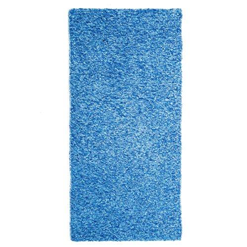 Alfombra de pie de cama romántica azul de algodón / poliéster para dormitorio de 60 x 120 cm Vitta - Lola Derek