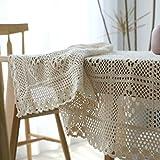 MIRUIKE Rustikal Tischdecke, quadratisch, Baumwolle gehäkelt Esstisch Dekoration Tisch Top Cover, beige, 55×63 inch(140 * 160CM)