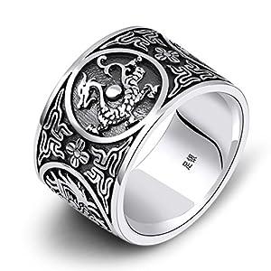 AmDxD S925 Sterling Silber Herren Ringe Retro Tier Einzigartig Ring Anti-Allergie Herrenringe