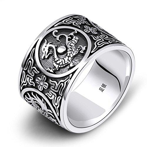 SonMo 15Mm Vintage Ring 999 Breit Buddhismus Gravur Chinesisches Maskottchen Herrenring Breit Herrenring Breit Ring Punk Größe:57 (18.1)