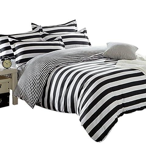 Striped Duvet Cover & 1 Pillowcase Set Quilt Cover Bedding Bed Set, Black and White Zebra Stripes,