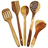 ITOS365 Handmade Wooden Serving and Cooking Spoon Kitchen Tools Utensil, Set of 5