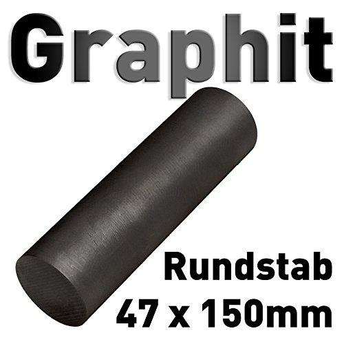 Varilla de grafito 47 mm x 150 mm, redondo de grafito, electrodo de grafito, ánodo, cilindro de carbono, 6 '