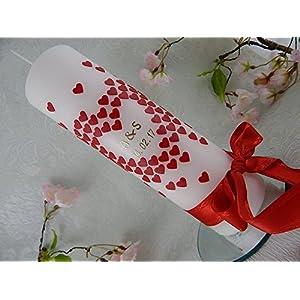 Hochzeitskerze Traukerze Herzen rot gold 250/70 mm inkl. Beschriftung