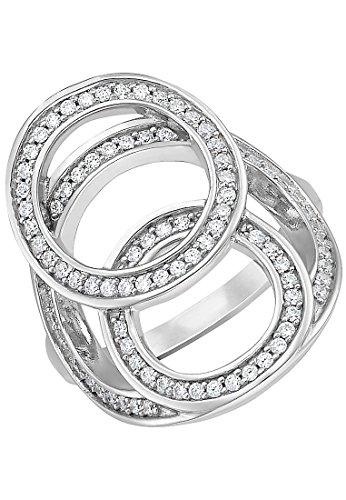 JETTE Silver Damen-Ring Raindrops 925er Silber 87 Zirkonia silber, 53 (16.9)