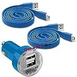 Fonetic Solutions Kompatibel mit MSI WindPad 110W-014US 25,4 cm (10 Zoll) Hülle, 12 V/24 V, kompakt, kleine Bullet, USB Dual Port Kfz-Reiseadapter, Ladegerät & 2 x 1 m Micro-USB-Ladekabel