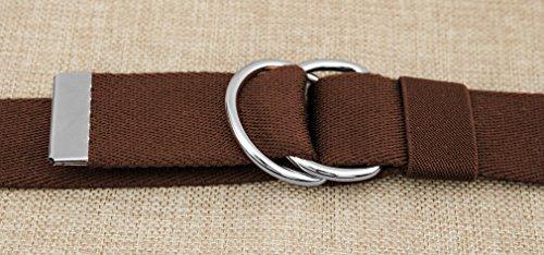 VEASTI 100% Nylon verstellbaren Guertel mit Doppel-Plastikwoelbungen Belt Militaeroptik 47″ Lange 1.5″ weit 120cm (braun) - 4