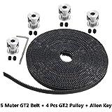 AARYA 3D 5 Meters GT2 6MM Open Timing Belt + 4 Pcs GT2 Timing Pulley 20 Teeth 5MM Bore