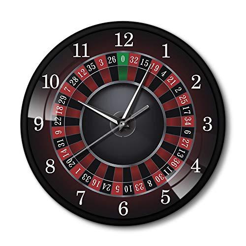 LIZHIHUI Relojes De Pared para Sala De Estar Ruleta De Póquer con Marco De Metal Negro Las Vegas Sala De Juegos Arte De La Pared Reloj De Reloj Reloj De Juego Casino Regalo Habitación Decoración