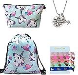 Doctor Unicorn Unicorn regali per ragazze 4pezzi–unicorno con coulisse zaino/borsa trucco/Inspirational collana/elastici per capelli, Blue