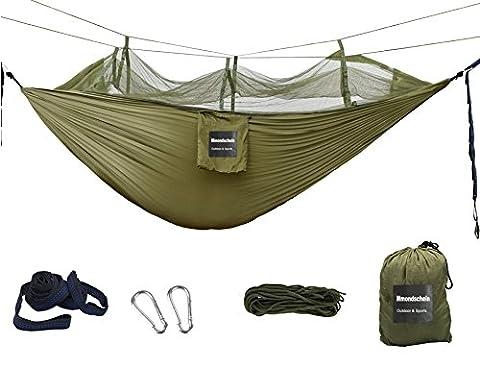 Mmondschein Camping Hängematte Set Moskitonetz Draussen Leicht Nylon Tragbar Fallschirm Hängematte für Camping Reise Strand Garten (Parachute Stoff Hammock)