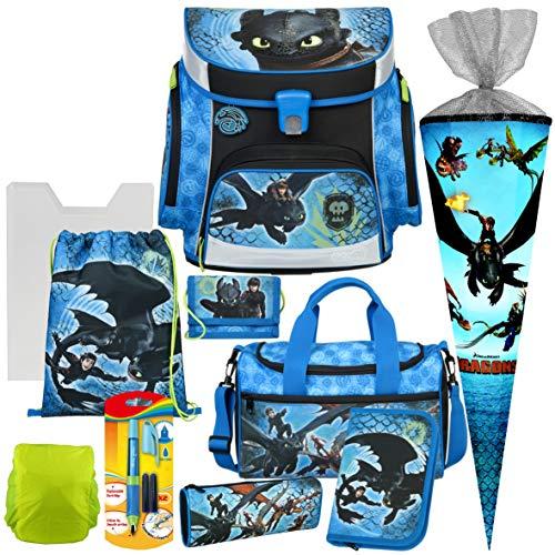 Dragons - Drachenzähmen - Schul-Ranzen-Set 10tlg, Scooli Undercover, Campus Fit mit Sporttasche,Schultüte und Regensicherheitshülle - praktische Heftbox A4 und Füller Gratis dazu!