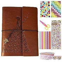 Guwheat Scrapbook Retro Handmade Butterfly Diy Family Album, Anniversary Adhesive Scrapbookwedding Photo Book With Gift Box (Brown, 28x21 Cm)