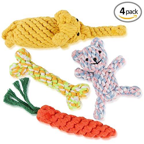 4pcs Hundespielzeug Set, Kauspielzeug für Klein Hund Welpen aus Baumwoll