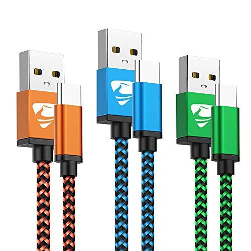 Cavo USB Tipo C Rapida Ricarica Cavo USB C 2M 3-Pezzi Nylon Intrecciato Cavo Caricabatterie Compatibile con Samsung A40 A50 A70 A20e S10 S9 S8 Note 9 8, Huawei P30 P20 Mate 20 PRO P10 Nintendo Switch