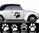 Pfoten Aufkleber Pfotenaufkleber Pfötchen Autoaufkleber Hundepfoten Farb+Motivwahl 2 x 30 cm in 33 Farben matt oder glänzend