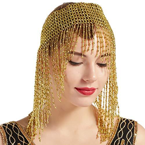 band Damen Gatsby Haar Kette Exotisch Cleopatra Kostüm Accessoires 20er Jahre Flapper Blinkendes Haarband (Gold Stil-2) ()