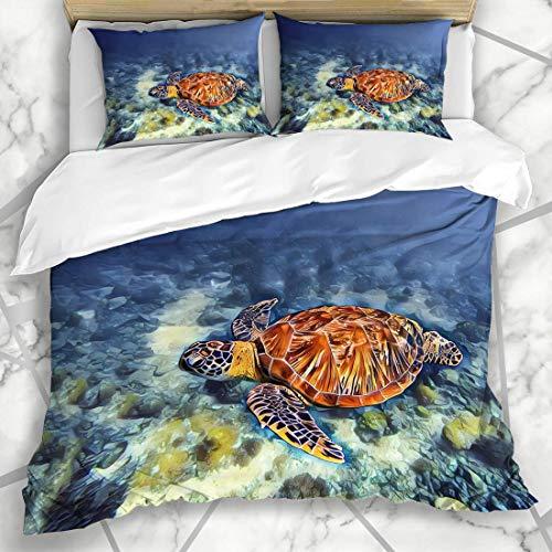 Möbel Turtle Bay (Bettwäschesets Ocean Bay Digital Sea Turtle Wasseraktivität Schwimmen Green Bottom Design Olive Mikrofaser Bettwäsche mit 2 Kissenbezügen)