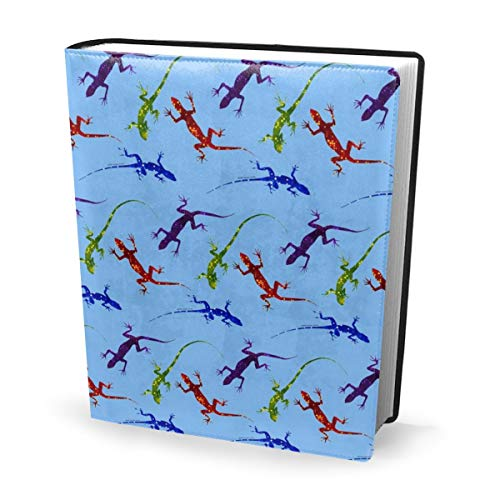 Dress rei Book Cover Colorful Spotted Lizards On Light Blue Waterproof PU Leather School Book Protector Washable Reusable Jacket 9x11 in -