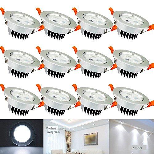 Hengda® 12X 3W Einbauleuchte Deckenleuchten für Küche Flur Wohnzimmer Beleuchtung mit Schwenkbar Küchenlampen Alu-matt HIGH QUALITY