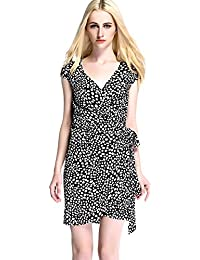 Womdee Damen Elegant Klassisch Punkte Muster V Ausschnitt Kleid