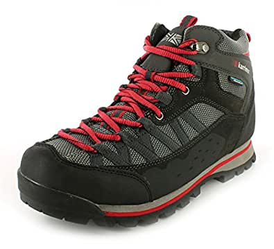 New Mens/Gents Black Karrimor Spike Waterproof Hiking/Walking Boots. - Black/Red - UK SIZE 13