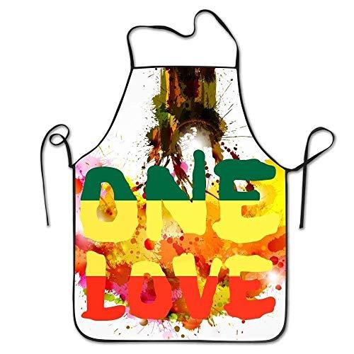 Jocper One Love Reggae Rasta Peace Weed Stoner von Sid3walkarton, Unisex, wasserdicht, langlebig, komfortabel, pflegeleicht, für die Küche, Kochmodell, farbenfroh, Anti-Öl Rasta Dot