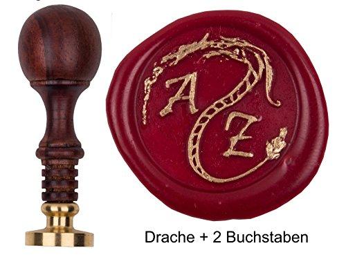 Siegel-Stempel mit pers. Initialen 2 Buchstaben + Zier Drache 1, Petschaft Teakholz gebeizt