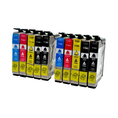 10 Druckerpatronen für Epson T1281 T1282 T1283 T1284 T1285 - 4x bk je12 ml,2x c,m,y je 8 ml