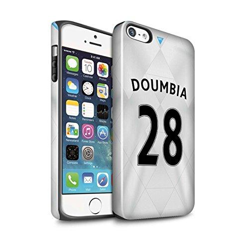 Offiziell Newcastle United FC Hülle / Glanz Harten Stoßfest Case für Apple iPhone SE / Pack 29pcs Muster / NUFC Trikot Away 15/16 Kollektion Doumbia