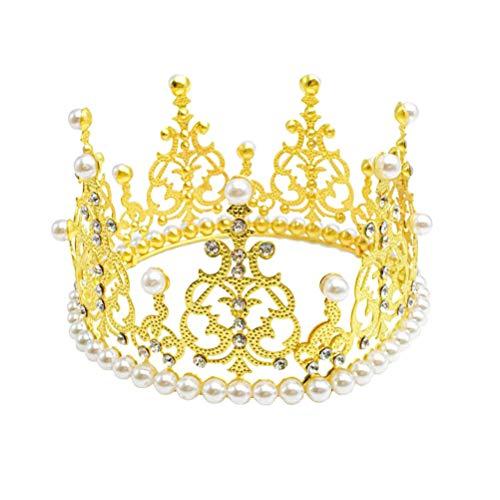 BESTONZON Crown Cake Topper Dekoration mit Strass und Perlen im Vintage-Stil Royal Mittelstück Stirnband Krone für Party Hochzeit (Gold) (Toppers Kuchen Crystal Wedding Gold)