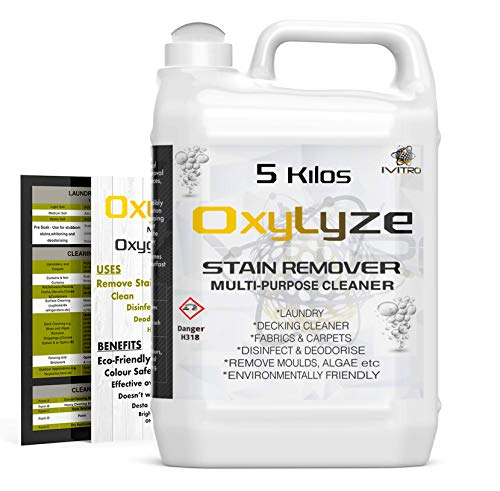 ivitro SODIUM PERCARBONATE Oxygen Bleach Stain Remover OxyLyze Cleaner for DECKING Patios MOULD & ALGAE Removal Multi Use Instructions Included LAUNDRY & GENERAL CLEANER 5 Kilos