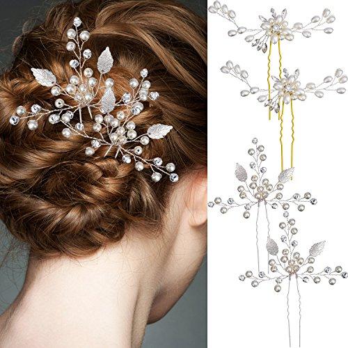 4 pezzi argento forcina per capelli da sposa set e perla strass clip capelli gioielli accessori per donne e ragazze