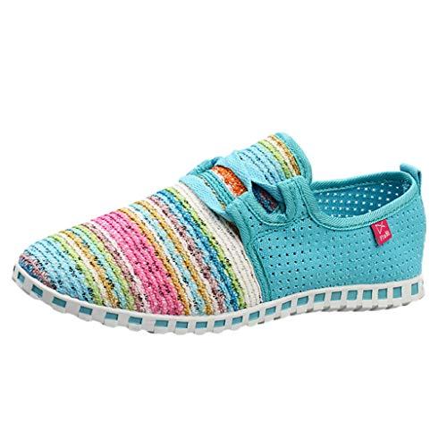 Mymyguoe Damen Bunte Gewebte Schuhe Leichte Laufschuhe Sneakers Einzelne Schuhe beiläufige Frühling und Herbst Geflochtenes Seil Low Schuhe Schlüpfen Gemütlich rutschfest - Mädchen Faux Wildleder Stiefel