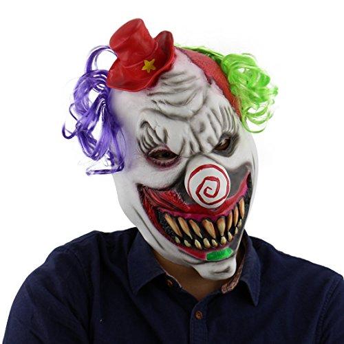 Evil killer clown böser killer Horror Clown mask Maske aus sehr hochwertigen Latex Material mit Öffnungen an Augen Halloween Karneval Fasching Kostüm Verkleidung für Erwachsene Männer und Frauen Damen Herren (Clowns Gruselig Böse)