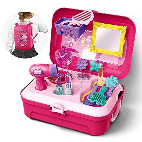 GizmoVine Schminkset Mädchen Mädchen Spielzeug Pretend Play Makeup Set Spielzeug mit Rucksack 16er Spielset Spielzeug für 2 3 4 5 jährige Kinder (3-jähriges Spielzeug Mädchen)