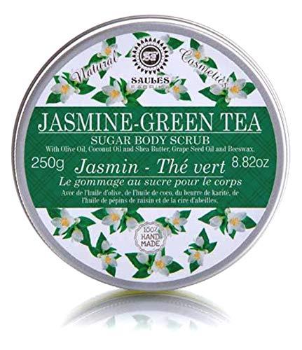 Zucker-Body-Scrub Körperpeeling für sanfte Reinigung, seidige weiche Haut für alle Hauttypen gegen Orangenhaut 300 g | 100% Naturkosmetik Duft: Grüner Jasmin-Tee - Duft Grün