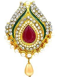 21826c60a85 Aashya Mayro Designer Meenakari and Pearl and CZ Diamond Studded Pearl Drop Saree  Pin/Brooch
