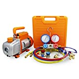 BACOENG 3 CFM Pompe à vide et Manifold Gauge Set Collecteur Jauge Ensemble - Idéal pour R22 R134a R410A R407C