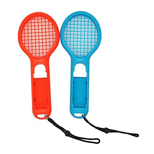 Gam3Gear Twin Pack Tennisschläger für Joy-Con Controller Griff, Tennisschläger Fit Mario Tennis Aces, ARMS und Motion Sensing Spiele für NS Switch Joy-Con (Rot & Blau) (Tennisschläger Griff Für Standard)