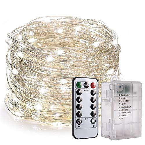 Fairy String Lights, PChero Neueste 6AA Batterie Betrieben 33FT 100 Leds Kupferdraht Lichterketten mit 8 Modi Fernbedienung für Hochzeit Weihnachten Outdoor Decor [Daylight White]